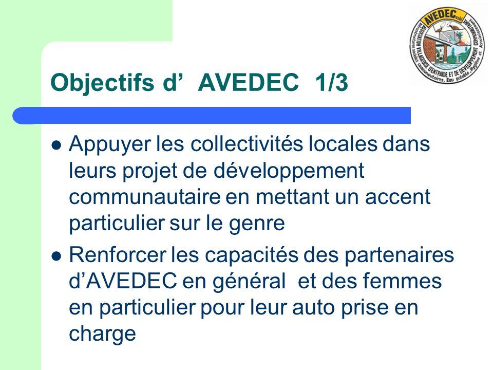 Objectifs dAVEDEC 1/3 Appuyer les collectivités locales dans leurs projet de développement communautaire en mettant un accent particulier sur le genre