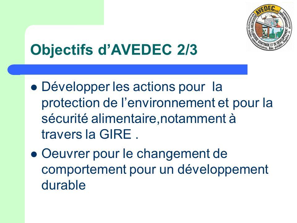 Objectifs dAVEDEC 2/3 Développer les actions pour la protection de lenvironnement et pour la sécurité alimentaire,notamment à travers la GIRE. Oeuvrer