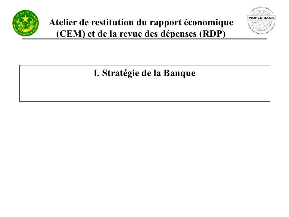 Atelier de restitution du rapport économique (CEM) et de la revue des dépenses (RDP) I. Stratégie de la Banque