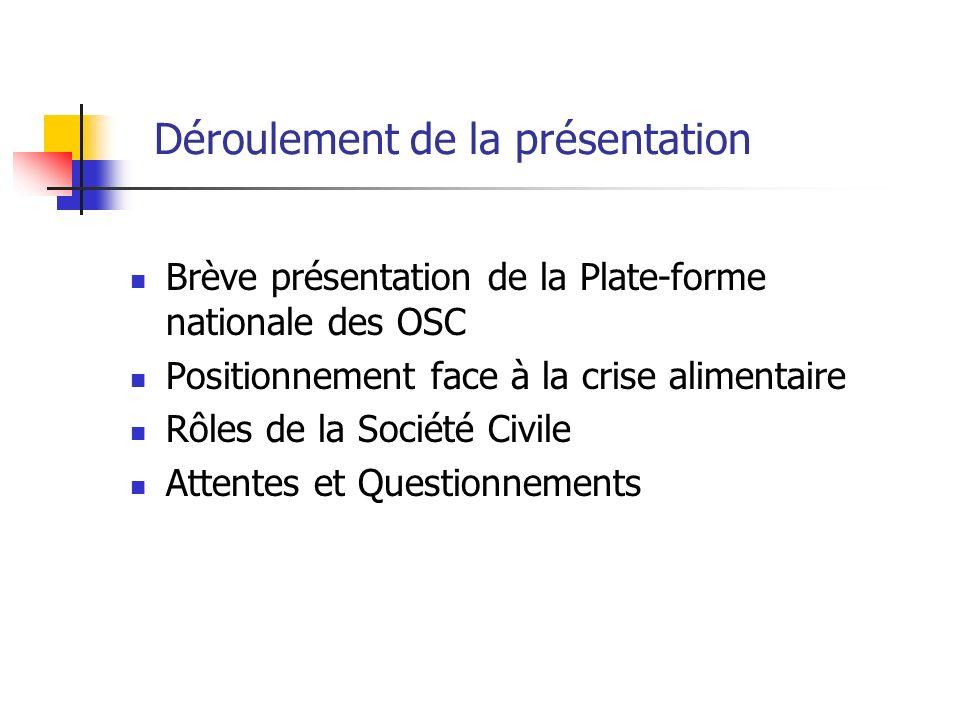 Déroulement de la présentation Brève présentation de la Plate-forme nationale des OSC Positionnement face à la crise alimentaire Rôles de la Société C