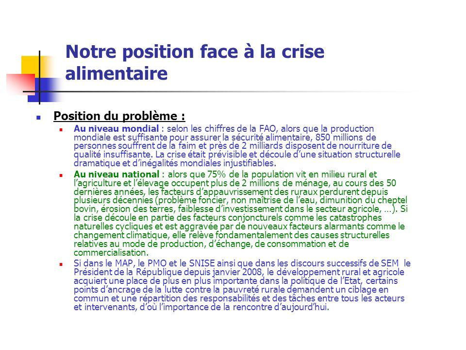 Notre position face à la crise alimentaire Position du problème : Au niveau mondial : selon les chiffres de la FAO, alors que la production mondiale e