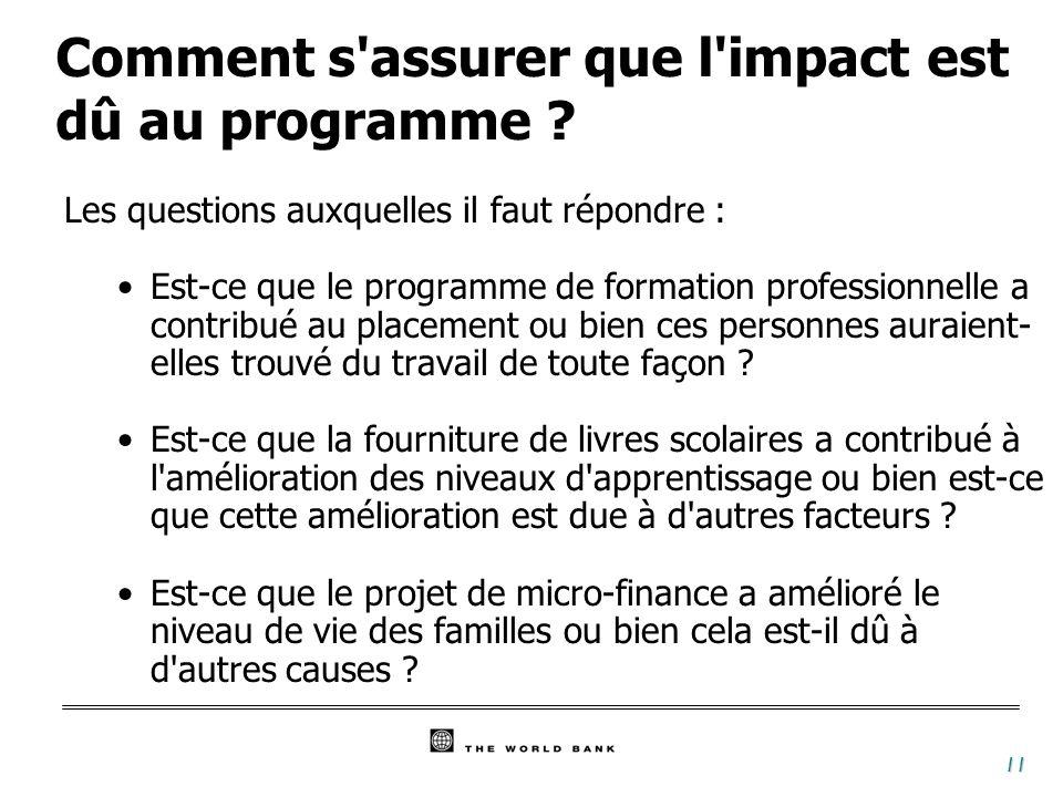 11 Comment s assurer que l impact est dû au programme .