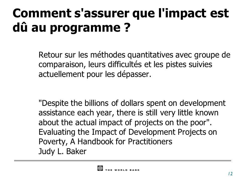 12 Comment s assurer que l impact est dû au programme .