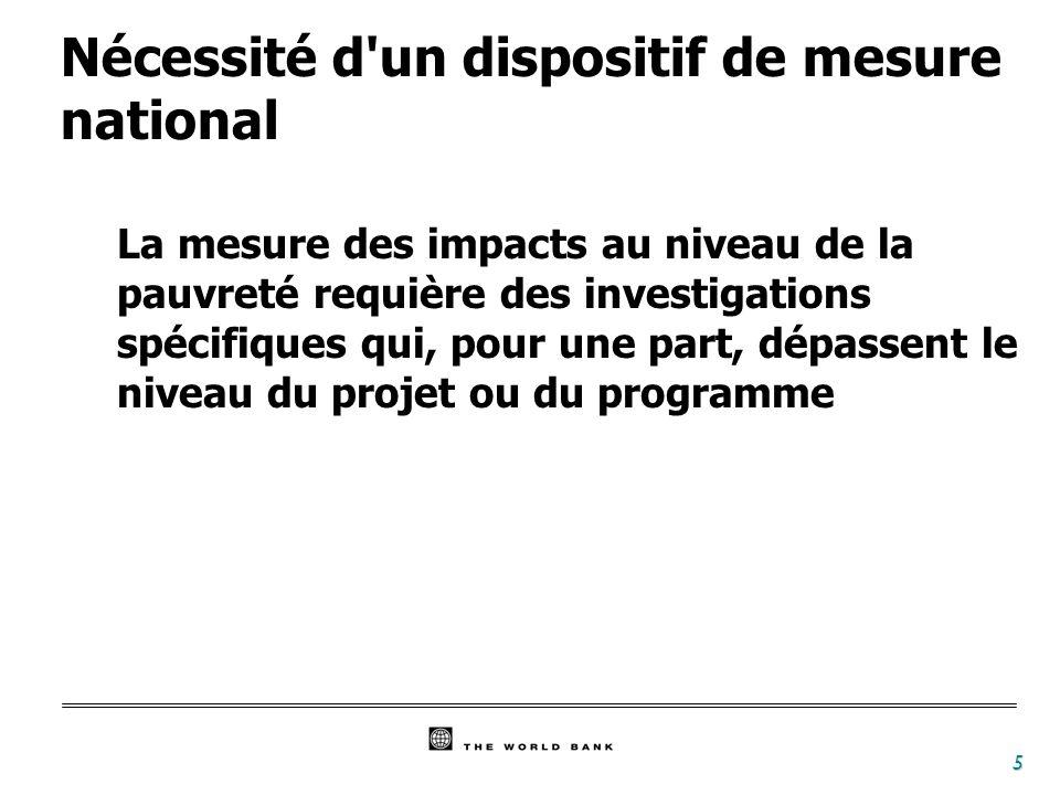 5 Nécessité d un dispositif de mesure national La mesure des impacts au niveau de la pauvreté requière des investigations spécifiques qui, pour une part, dépassent le niveau du projet ou du programme