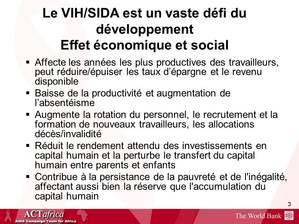 3 Le VIH/SIDA est un vaste défi du développement Effet économique et social Affecte les années les plus productives des travailleurs, peut réduire/épu