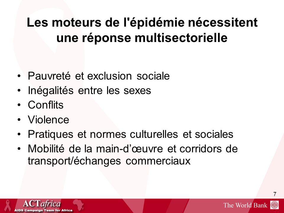 7 Les moteurs de l'épidémie nécessitent une réponse multisectorielle Pauvreté et exclusion sociale Inégalités entre les sexes Conflits Violence Pratiq