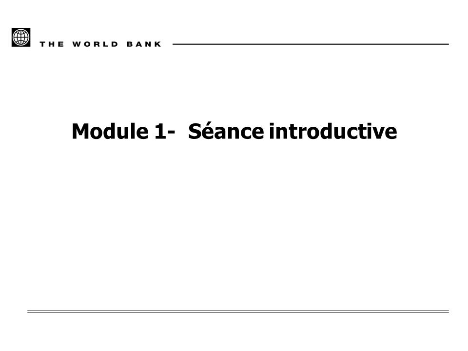 Module 1- Séance introductive
