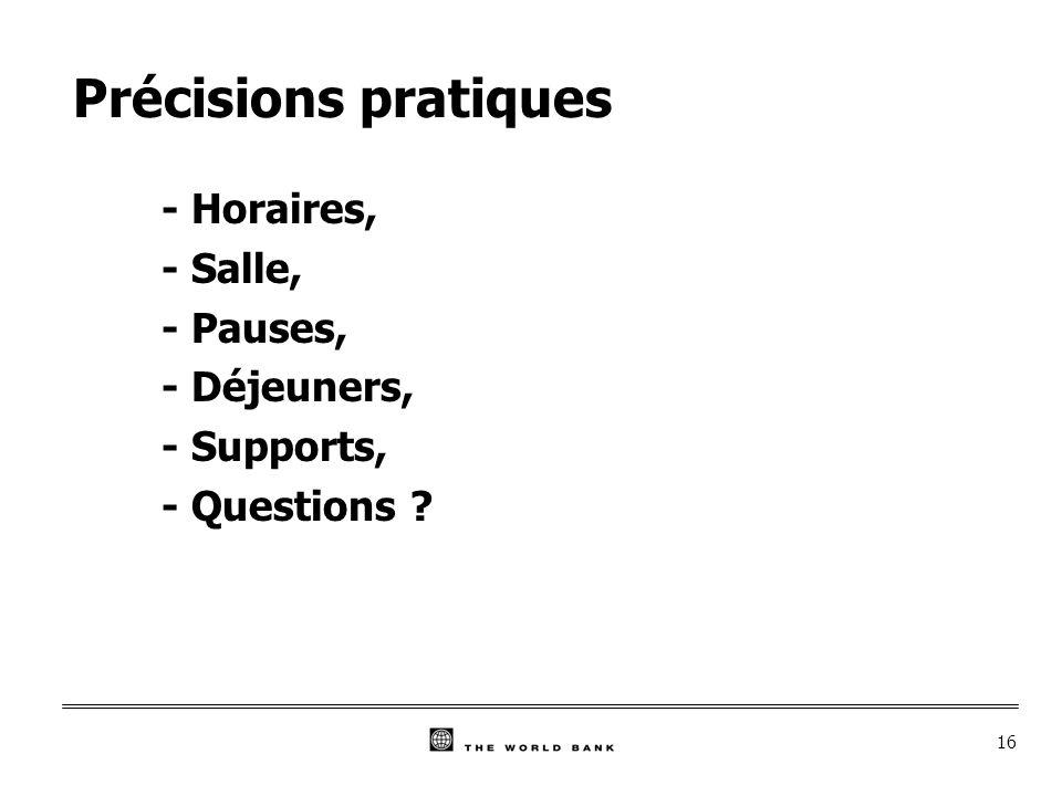 16 Précisions pratiques - Horaires, - Salle, - Pauses, - Déjeuners, - Supports, - Questions