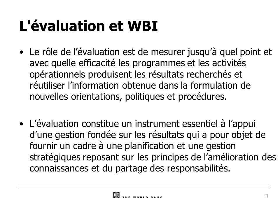 4 L évaluation et WBI Le rôle de lévaluation est de mesurer jusquà quel point et avec quelle efficacité les programmes et les activités opérationnels produisent les résultats recherchés et réutiliser linformation obtenue dans la formulation de nouvelles orientations, politiques et procédures.