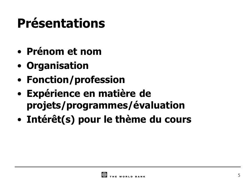 5 Présentations Prénom et nom Organisation Fonction/profession Expérience en matière de projets/programmes/évaluation Intérêt(s) pour le thème du cours