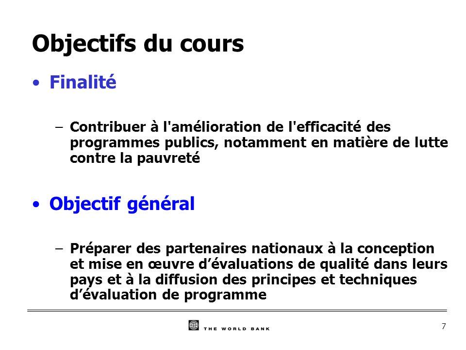 8 Objectifs opérationnels (1) A l issue de ce cours, les participants : 1)Auront été sensibilisés à l intérêt de l évaluation ainsi qu à la dynamique de développement des pratiques d évaluation à l œuvre actuellement; 2)Connaîtront les principes généraux de l évaluation des programmes, l éventail des méthodes et techniques de l évaluation, ainsi que la démarche à suivre et les conditions à remplir pour garantir la qualité des résultats obtenus; 3)Connaîtront les spécificités de l évaluation des effets des programmes en matière de lutte contre la pauvreté;