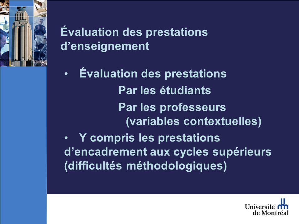 Évaluation des prestations denseignement Évaluation des prestations Par les étudiants Par les professeurs (variables contextuelles) Y compris les prestations dencadrement aux cycles supérieurs (difficultés méthodologiques)