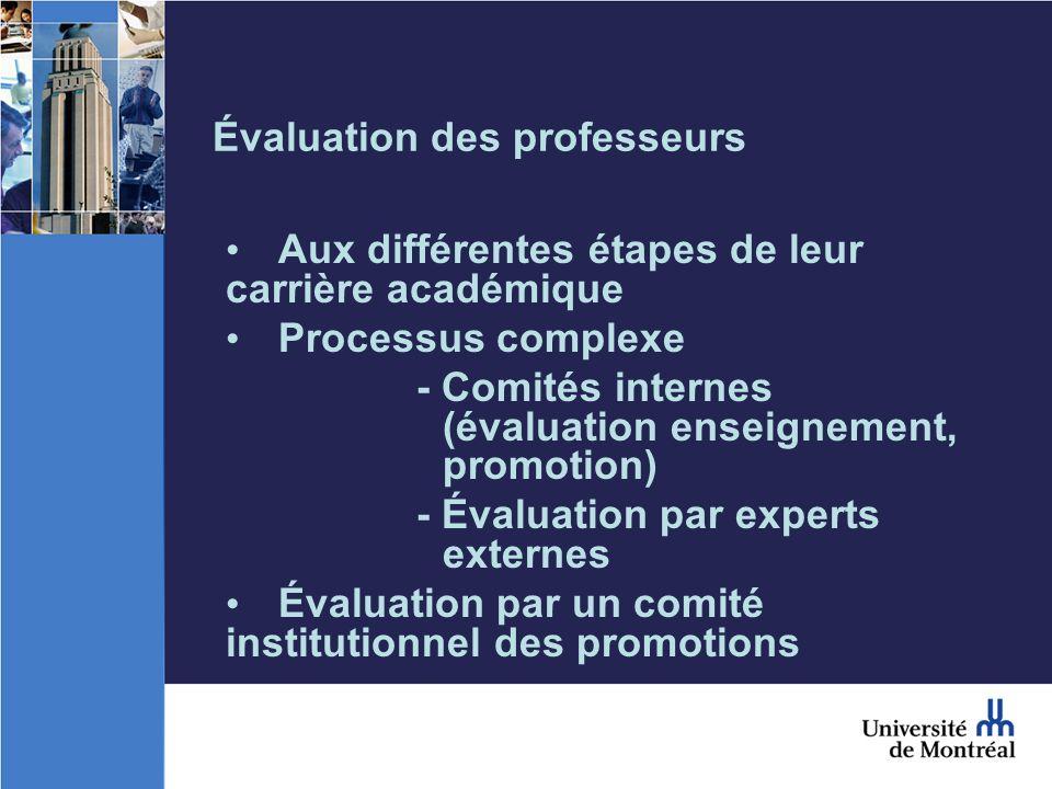 Évaluation des professeurs Aux différentes étapes de leur carrière académique Processus complexe - Comités internes (évaluation enseignement, promotion) - Évaluation par experts externes Évaluation par un comité institutionnel des promotions