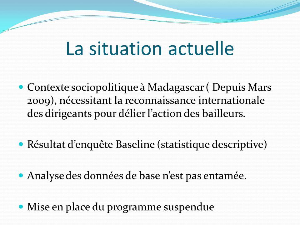 La situation actuelle Contexte sociopolitique à Madagascar ( Depuis Mars 2009), nécessitant la reconnaissance internationale des dirigeants pour délier laction des bailleurs.