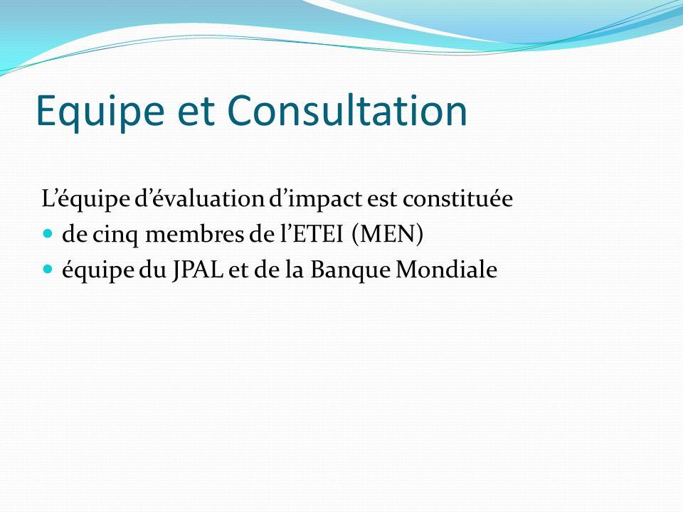Equipe et Consultation Léquipe dévaluation dimpact est constituée de cinq membres de lETEI (MEN) équipe du JPAL et de la Banque Mondiale