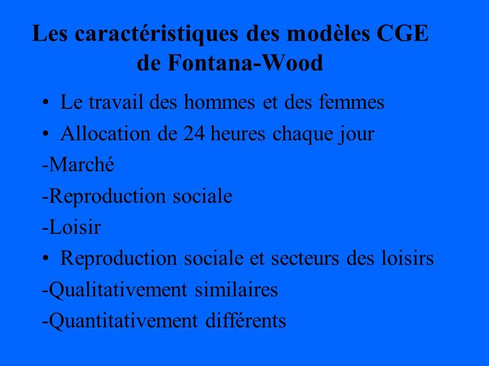 Les caractéristiques des modèles CGE de Fontana-Wood Le travail des hommes et des femmes Allocation de 24 heures chaque jour -Marché -Reproduction sociale -Loisir Reproduction sociale et secteurs des loisirs -Qualitativement similaires -Quantitativement différents