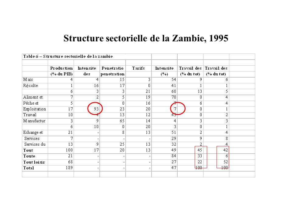 Structure sectorielle de la Zambie, 1995