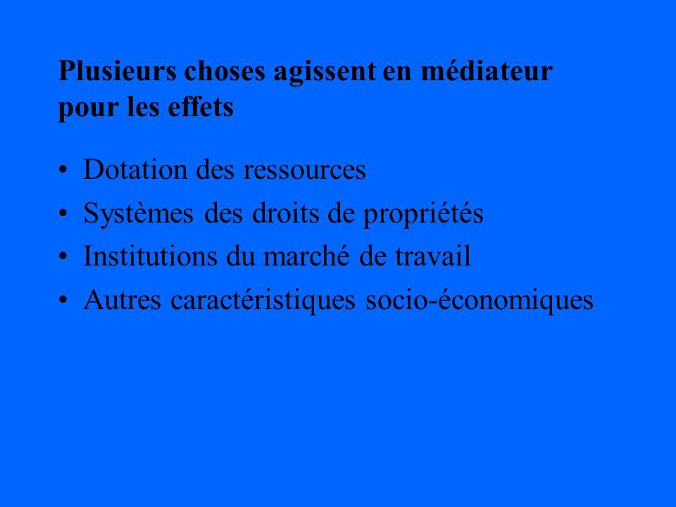 Plusieurs choses agissent en médiateur pour les effets Dotation des ressources Systèmes des droits de propriétés Institutions du marché de travail Autres caractéristiques socio-économiques
