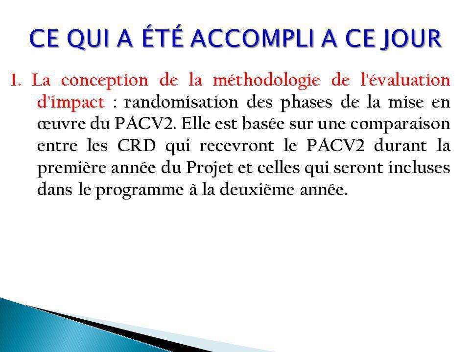 1. La conception de la méthodologie de l'évaluation d'impact : randomisation des phases de la mise en œuvre du PACV2. Elle est basée sur une comparais