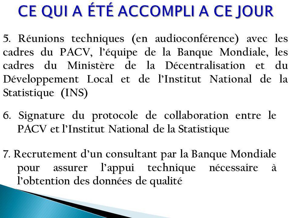 5. Réunions techniques (en audioconférence) avec les cadres du PACV, léquipe de la Banque Mondiale, les cadres du Ministère de la Décentralisation et