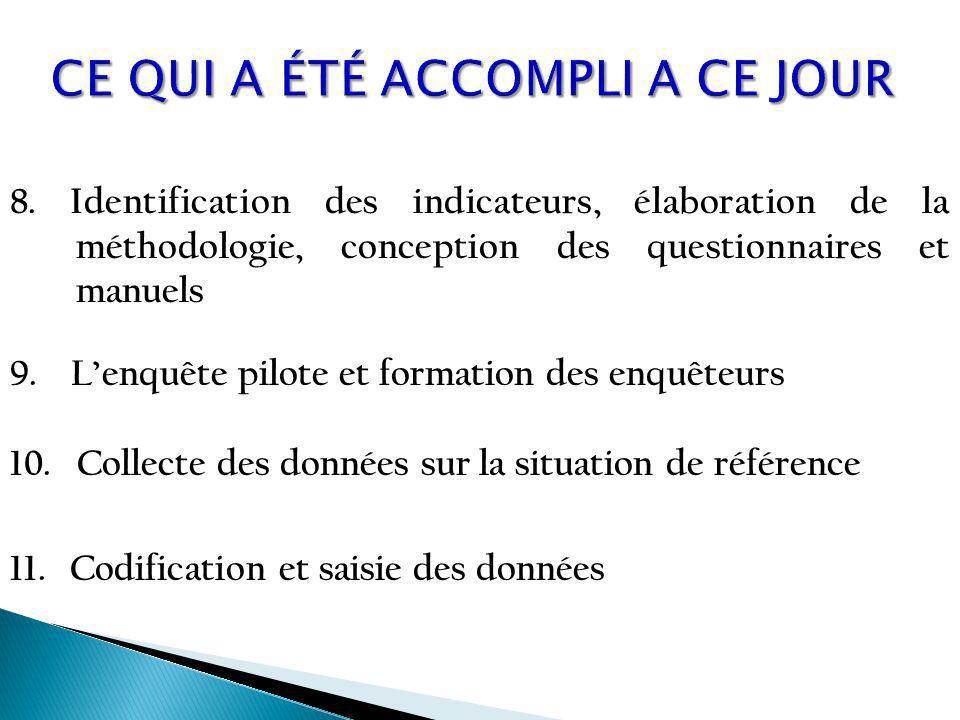 8. Identification des indicateurs, élaboration de la méthodologie, conception des questionnaires et manuels 9. Lenquête pilote et formation des enquêt