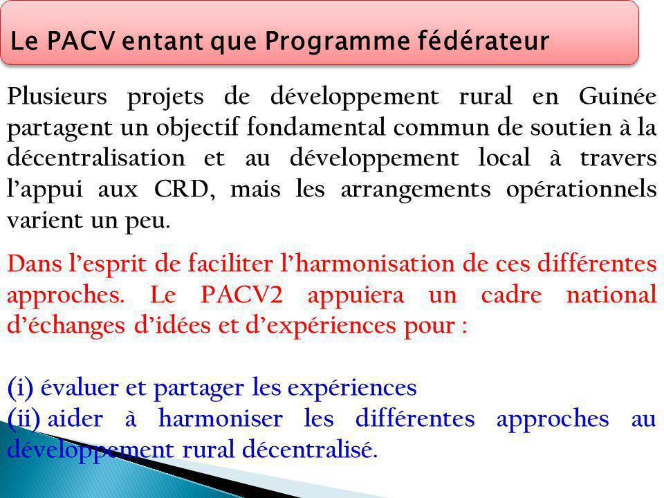 Plusieurs projets de développement rural en Guinée partagent un objectif fondamental commun de soutien à la décentralisation et au développement local à travers lappui aux CRD, mais les arrangements opérationnels varient un peu.