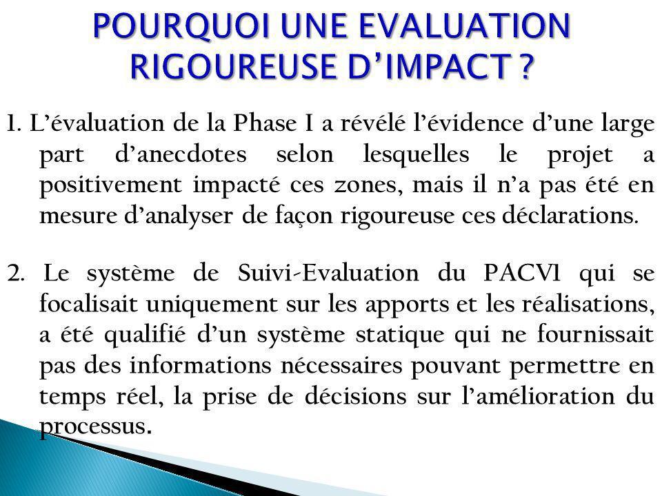 1. Lévaluation de la Phase I a révélé lévidence dune large part danecdotes selon lesquelles le projet a positivement impacté ces zones, mais il na pas