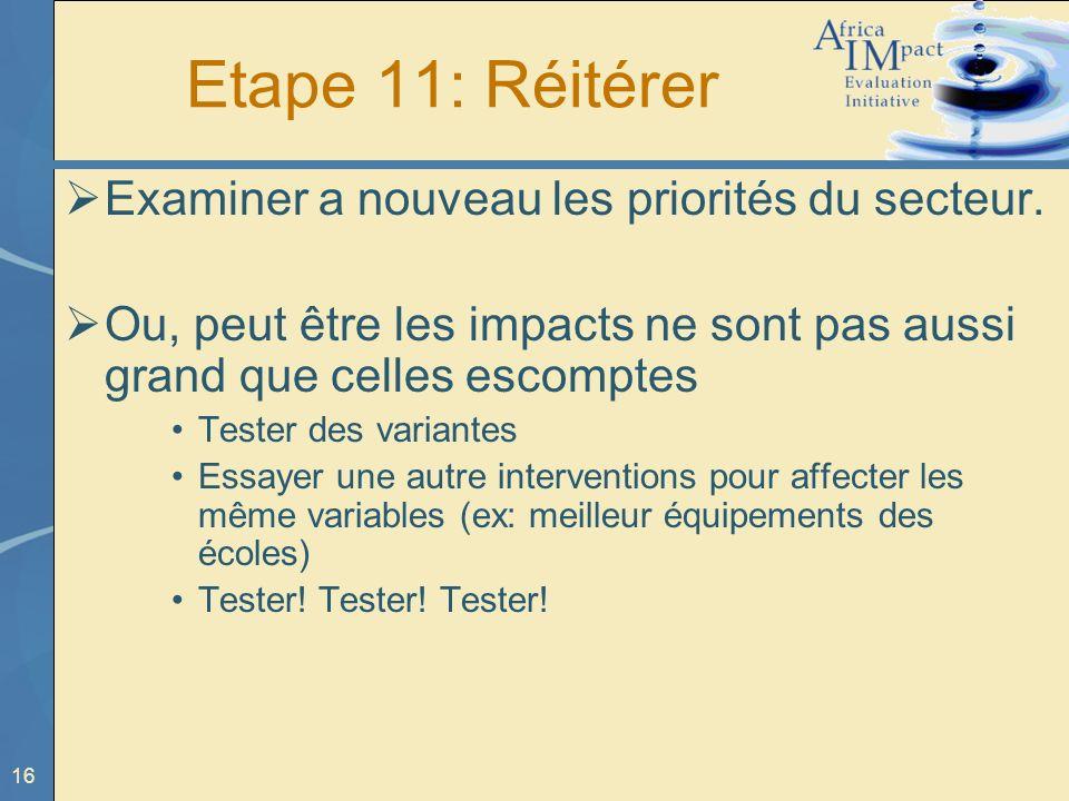 16 Etape 11: Réitérer Examiner a nouveau les priorités du secteur.
