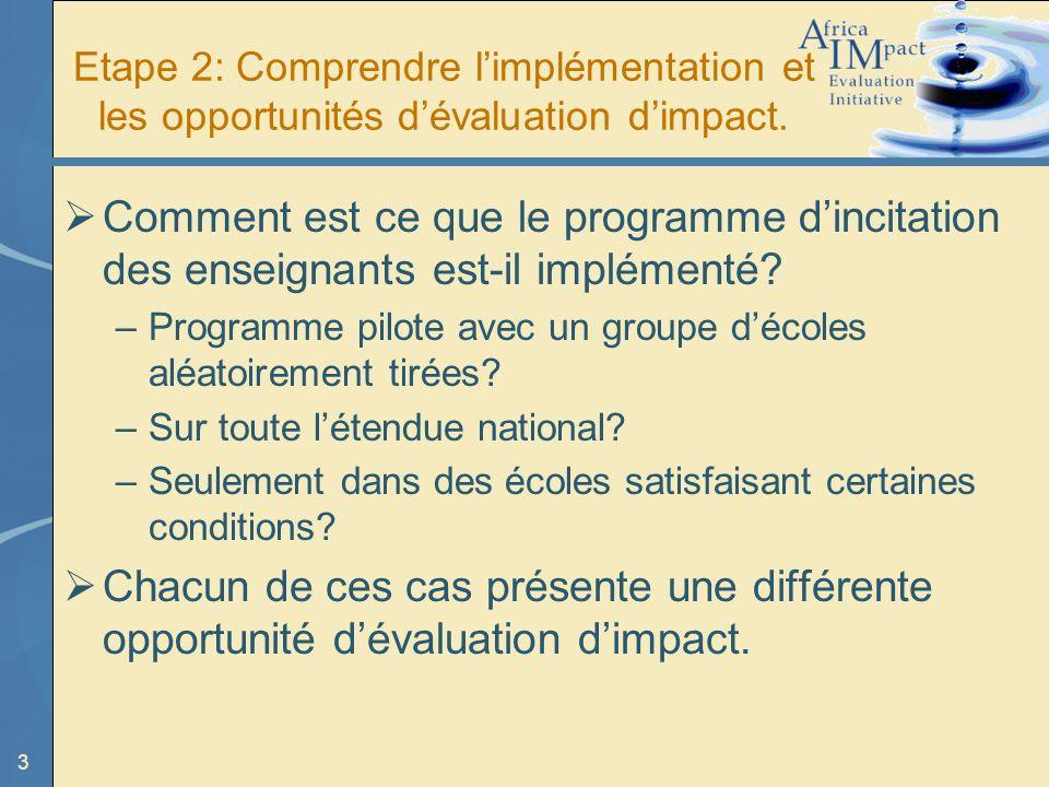 3 Etape 2: Comprendre limplémentation et les opportunités dévaluation dimpact.