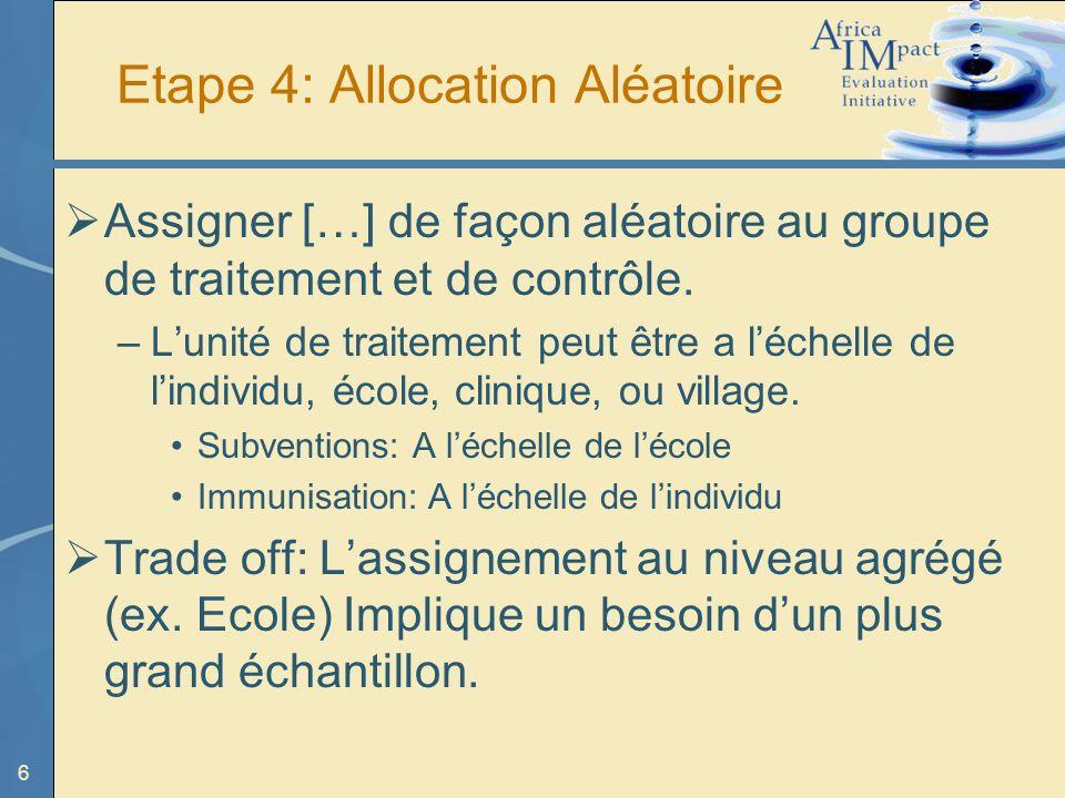 6 Etape 4: Allocation Aléatoire Assigner […] de façon aléatoire au groupe de traitement et de contrôle.