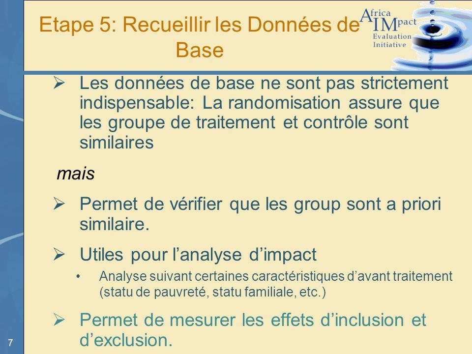 7 Etape 5: Recueillir les Données de Base Les données de base ne sont pas strictement indispensable: La randomisation assure que les groupe de traitement et contrôle sont similaires mais Permet de vérifier que les group sont a priori similaire.