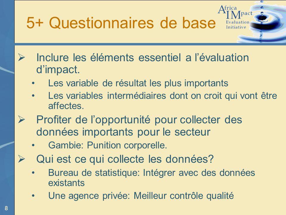8 5+ Questionnaires de base Inclure les éléments essentiel a lévaluation dimpact.