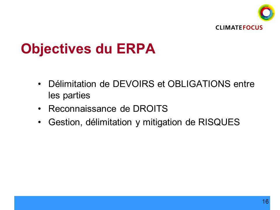 16 Objectives du ERPA Délimitation de DEVOIRS et OBLIGATIONS entre les parties Reconnaissance de DROITS Gestion, délimitation y mitigation de RISQUES