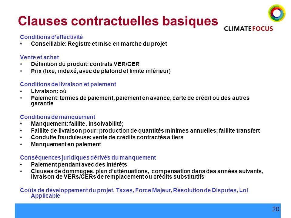 20 Clauses contractuelles basiques Conditions deffectivité Conseillable: Registre et mise en marche du projet Vente et achat Définition du produit: co