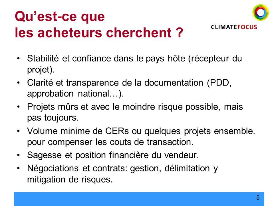 5 Quest-ce que les acheteurs cherchent ? Stabilité et confiance dans le pays hôte (récepteur du projet). Clarité et transparence de la documentation (