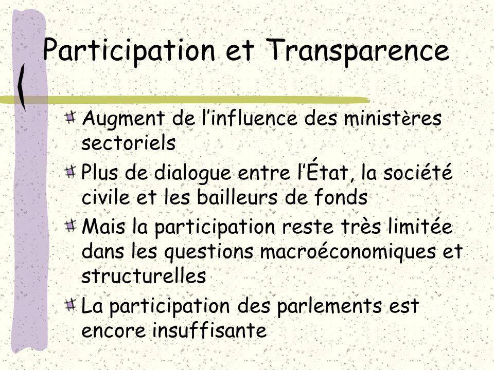 Participation et Transparence Augment de linfluence des minist è res sectoriels Plus de dialogue entre lÉtat, la société civile et les bailleurs de fo