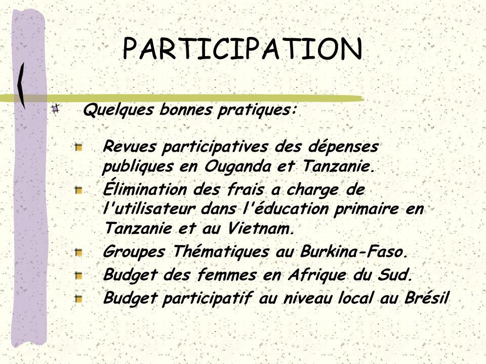PARTICIPATION Quelques bonnes pratiques: Revues participatives des dépenses publiques en Ouganda et Tanzanie. Élimination des frais a charge de l'util