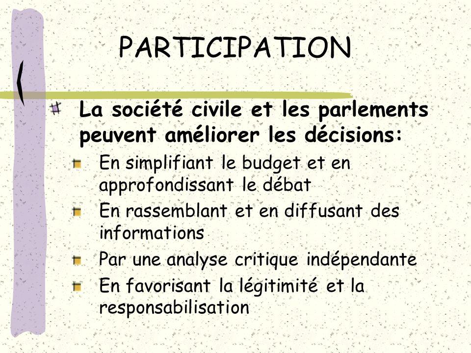 PARTICIPATION La société civile et les parlements peuvent améliorer les décisions: En simplifiant le budget et en approfondissant le débat En rassembl
