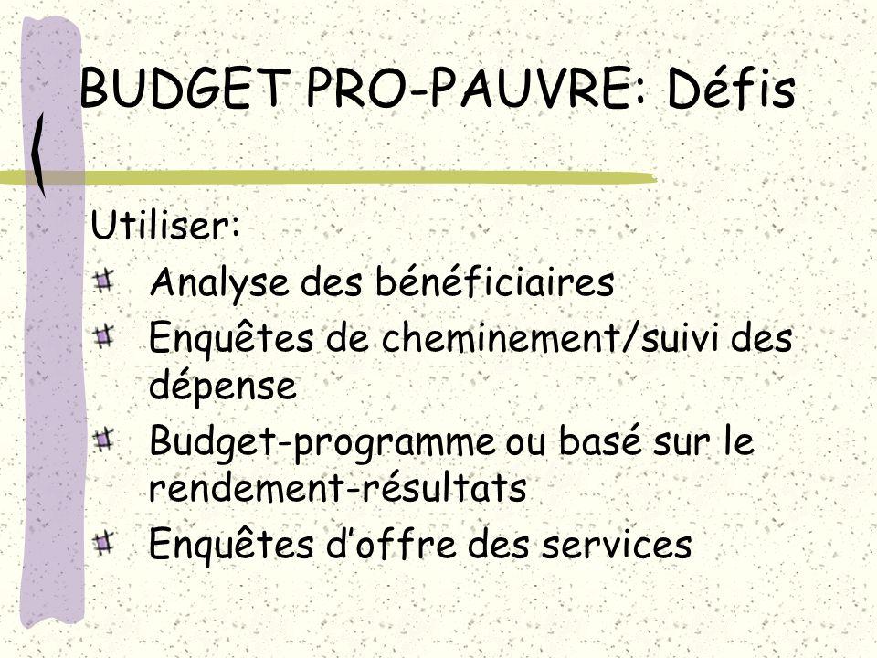 BUDGET PRO-PAUVRE: Défis Utiliser: Analyse des bénéficiaires Enquêtes de cheminement/suivi des dépense Budget-programme ou basé sur le rendement-résul