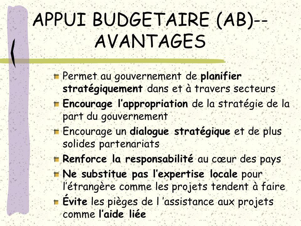 APPUI BUDGETAIRE (AB)-- AVANTAGES Permet au gouvernement de planifier stratégiquement dans et à travers secteurs Encourage lappropriation de la straté