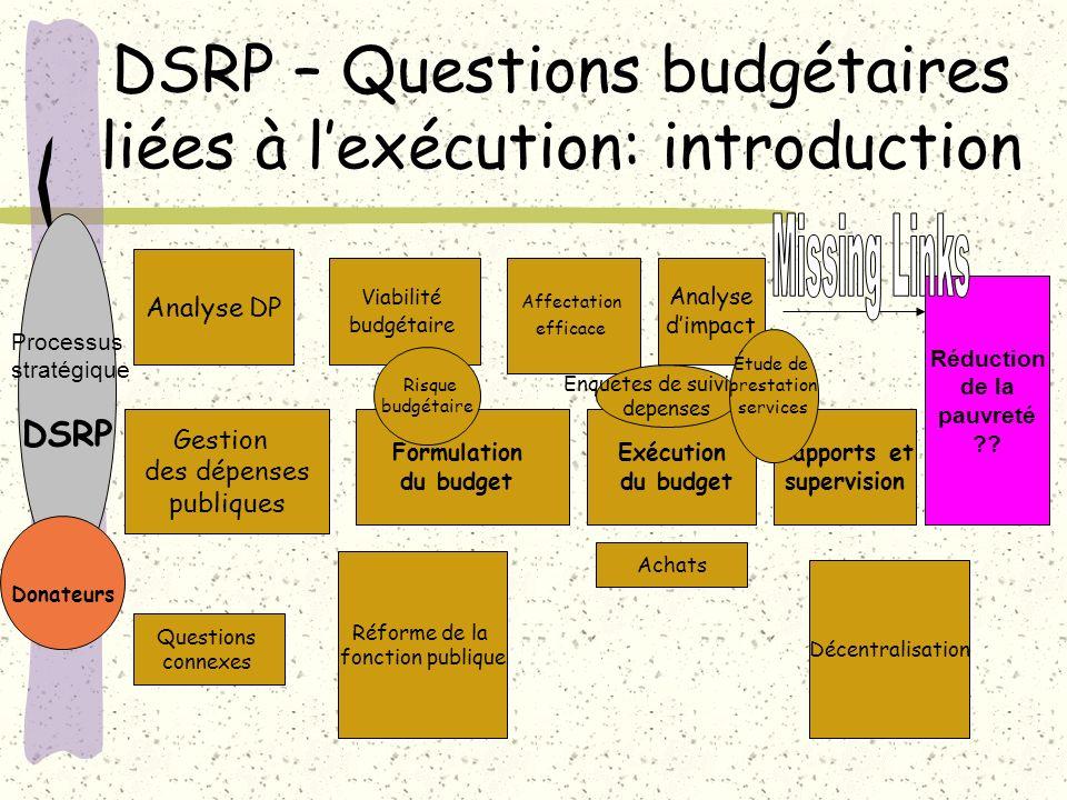 DSRP – Questions budgétaires liées à lexécution: introduction Analyse DP Gestion des dépenses publiques Viabilité budgétaire Affectation efficace Anal