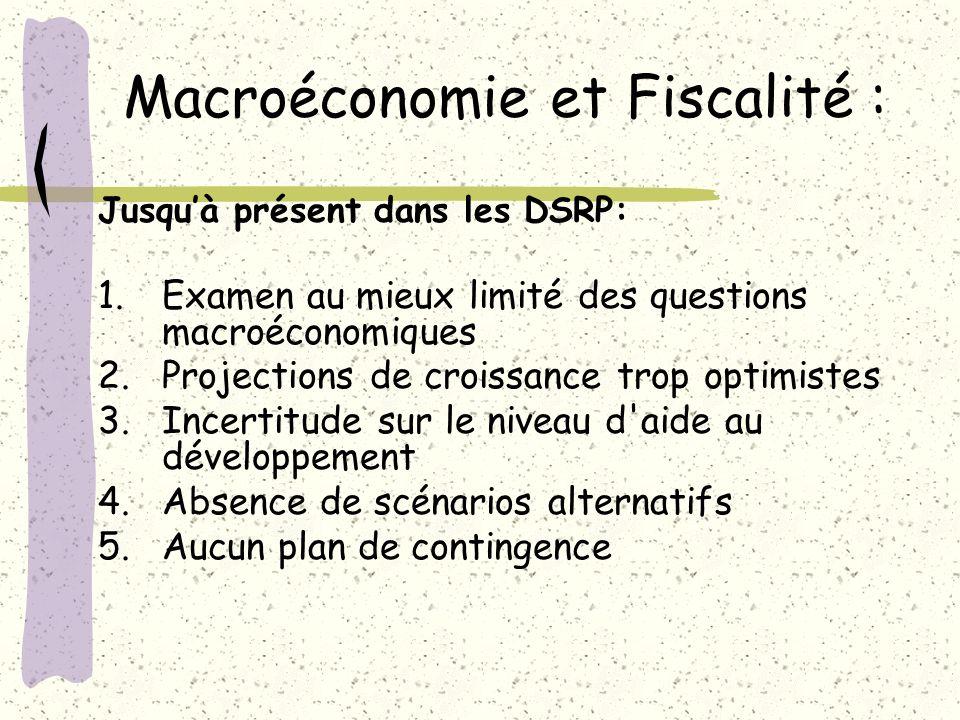 Macroéconomie et Fiscalité : Jusquà présent dans les DSRP: 1.Examen au mieux limité des questions macroéconomiques 2.Projections de croissance trop op