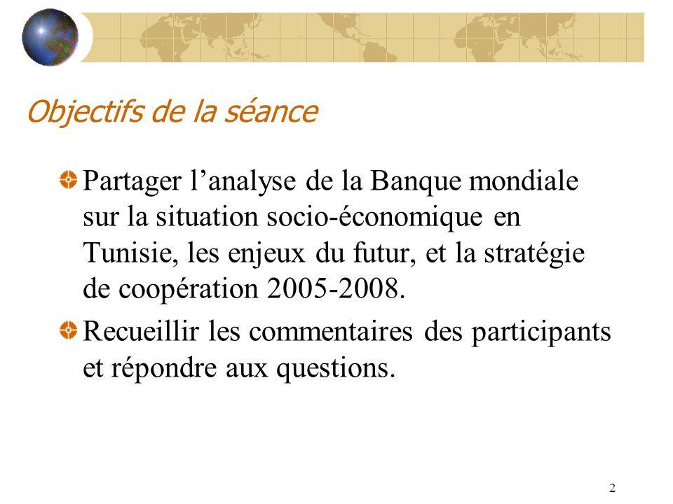 2 Objectifs de la séance Partager lanalyse de la Banque mondiale sur la situation socio-économique en Tunisie, les enjeux du futur, et la stratégie de