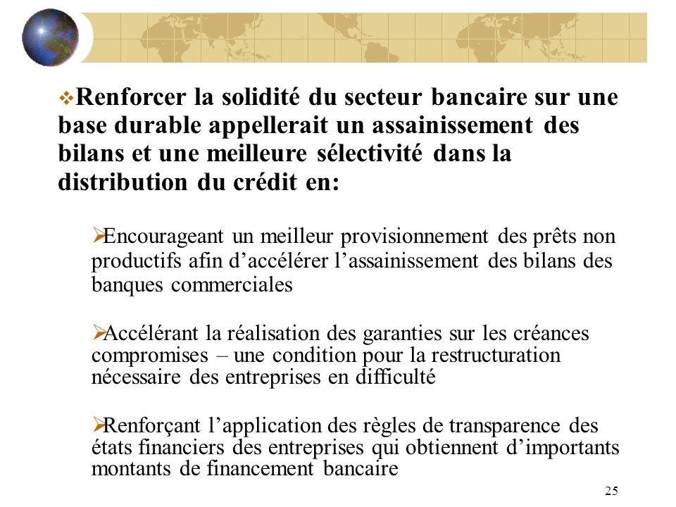25 Renforcer la solidité du secteur bancaire sur une base durable appellerait un assainissement des bilans et une meilleure sélectivité dans la distri