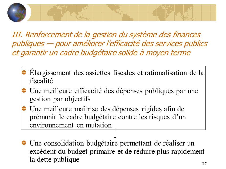 27 III. Renforcement de la gestion du système des finances publiques pour améliorer lefficacité des services publics et garantir un cadre budgétaire s