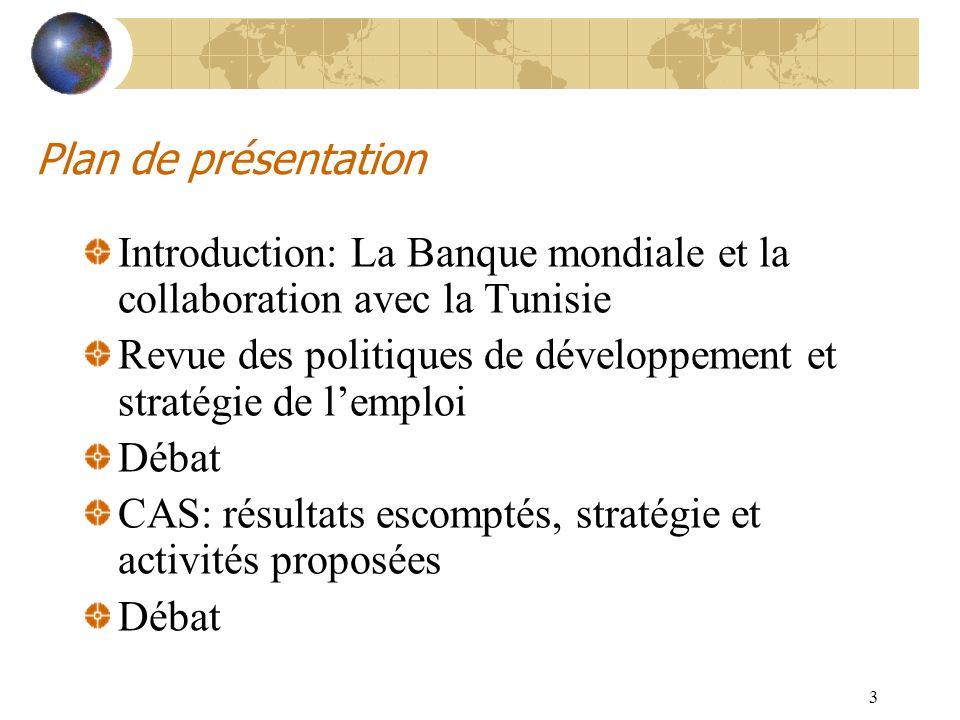 3 Plan de présentation Introduction: La Banque mondiale et la collaboration avec la Tunisie Revue des politiques de développement et stratégie de lemp