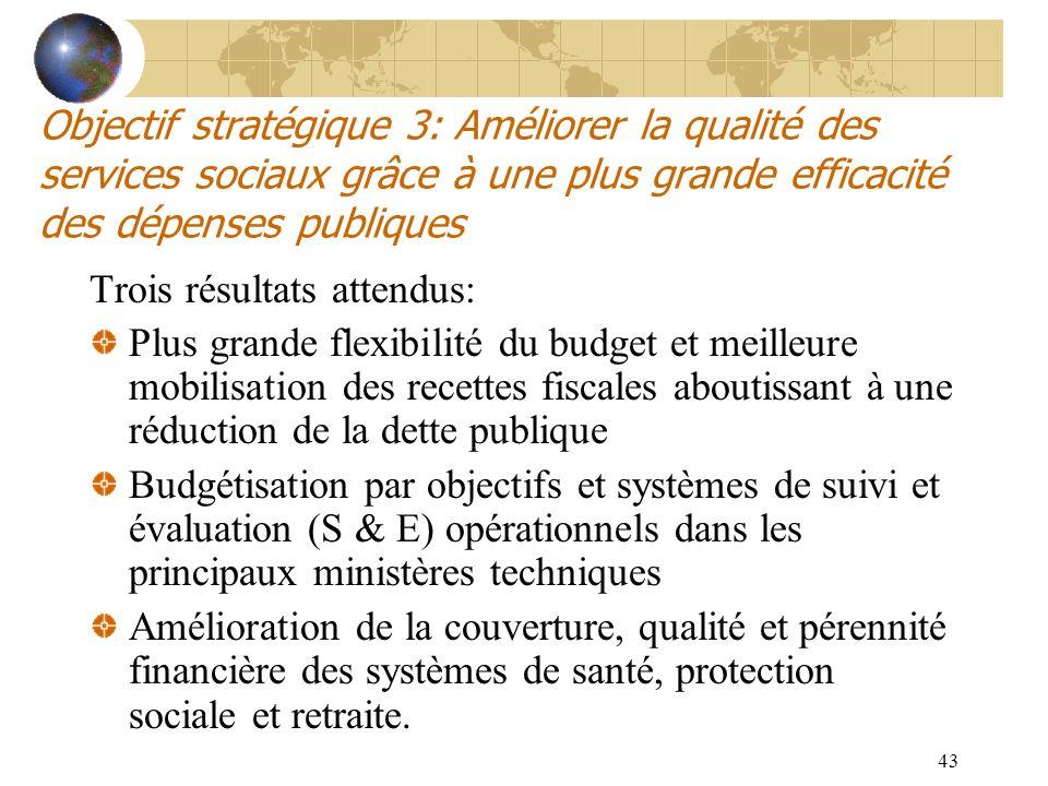 43 Objectif stratégique 3: Améliorer la qualité des services sociaux grâce à une plus grande efficacité des dépenses publiques Trois résultats attendu