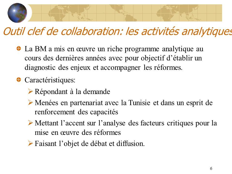6 Outil clef de collaboration: les activités analytiques La BM a mis en œuvre un riche programme analytique au cours des dernières années avec pour ob