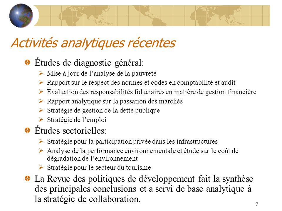 8 Exemple : Stratégie pour la Participation Privée dans les Infrastructures (PPI) Diagnostic des acquis et de la situation actuelle des PPI dans multiples secteurs Compléments à la stratégie actuelle: Poursuivre louverture à la concurrence Améliorer la régulation et la recouvrement des coûts Introduire de nouvelles formes de PPI et une loi sur les PPI Promouvoir le financement local Analyse des effets économiques et sociaux Diffusion large à Tunis en décembre 2003
