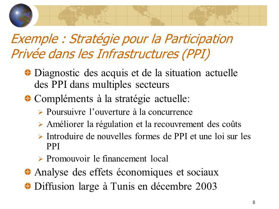 8 Exemple : Stratégie pour la Participation Privée dans les Infrastructures (PPI) Diagnostic des acquis et de la situation actuelle des PPI dans multi
